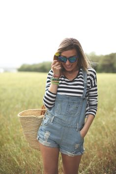Jean bibbed overall playsuit.