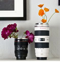 lens mugs (which happen to double as vases) - Pep Up Your Workspace: 20 Awesome Desk Accessories