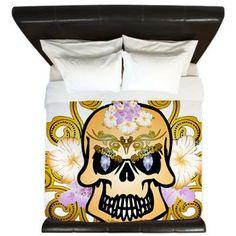 Fantasytic skull King Duvet by nicky - CafePress King Duvet, Skulls, Duvet Covers, Quilts, Antiques, Color, Design, Style, Quilt