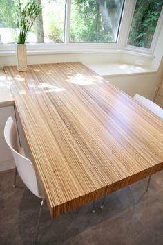 zebra wood veneer table