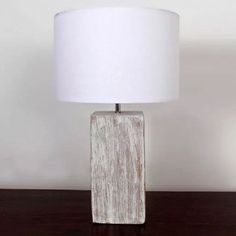 LARGE Rustic Washed Wood Effect Block White Shade Side Table Lamp NEW BNWT 50cm  | eBay