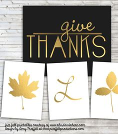 Free Printables: Gold Fall Leaves, Give Thanks and Initials {all initials available}