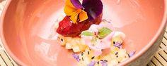 Compote van appel, witte wijn en kokosbloesemsuiker met een frisse bosbessen sorbet #amanprana  #noblehouse #gezond #bio #natuurlijk #compote # appel #wijn #wittewijn #kokos #kokosbloesemsuiker #bosbessen #sorbet #tussendoortje #snack