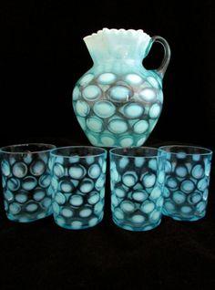 Vintage Pre-Logo Fenton Blue Opalescent Coin Dot Water Pitcher  #vintage #fenton #artglass #pitcher
