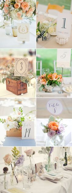 43 Creative DIY Wedding Table Number Ideas - Number card on holders!