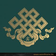 Unendlicher Knoten auch Shrivasta als buddhistisches Symbol für Liebe und Ewigkeit als Wandtattoo.
