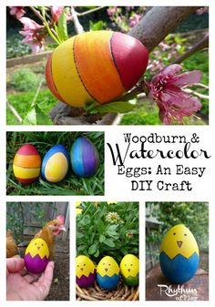 Woodburn & Watercolor Eggs An Easy DIY Craft for teens & adults.