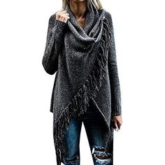 online shopping for Womens Speckled Fringe Cardigan Tassel Asymmetrical Hem Shawl Heap Collar Casual Sweater Poncho from top store. See new offer for Womens Speckled Fringe Cardigan Tassel Asymmetrical Hem Shawl Heap Collar Casual Sweater Poncho Loose Sweater, Cardigan Sweaters For Women, Sweater Coats, Winter Sweaters, Sweater Jacket, Cardigans For Women, Pullover Sweaters, Jacket Jeans, Poncho Coat