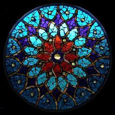 Stained Glass Mosaic Mandala Peacock Sun by David Chidgey