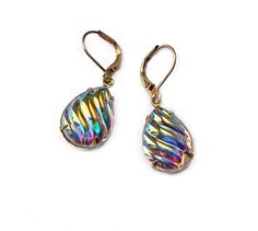 Vintage Swarovski Earrings Rare Aurora Borealis Grooved Pear Shaped Crystal Teardrops Iridescent Reflective Multicolor Wedding Bride - pinned by pin4etsy.com