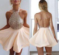 2016 New Bling Halter Neck Sequins Top Backless Homecoming Dresses For Juniors…
