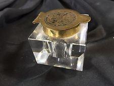 Antique Vintage Beveled CUT ? CRYSTAL INKWELL w/ Embossed Brass Hinged Lid