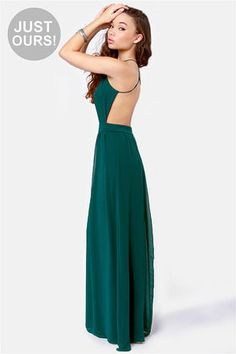 LuLu*s Exclusive! As pretty as an urban wildflower, the Rooftop Garden Backless Dark Teal Maxi Dress lights up the skyline with lengths of deep teal-green chiffon. A fitted, triangle-cut bodice has spaghetti straps that crisscross a sexy open back, while Club Party Dresses, Ball Dresses, Striped Maxi Dresses, Casual Dresses, Sexy Backless Dress, Open Back Prom Dresses, Junior Dresses, Rooftop Garden, Green Dress