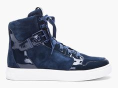 Pierre Balmain Navy Suede Flint Sneakers on http://www.dmarge.com