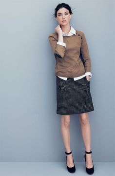 Workwear - white dress shirt, camel sweater, gray skirt and strappy or mary jane shoes