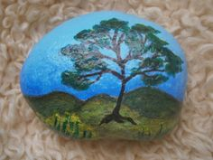 "Items similar to Painted rock ""TREE"" on Etsy Pebble Painting, Tole Painting, Pebble Art, Stone Crafts, Rock Crafts, Arts And Crafts, Diy Crafts, Hand Painted Rocks, Painted Stones"