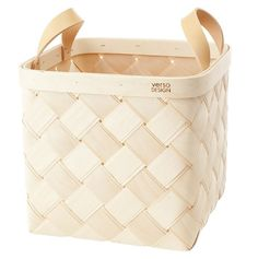 Verso Lastu Medium Birch Basket with leather handles. A modern take on a true Finnish classic, a woven birch basket. Goods And Service Tax, Goods And Services, Wire Baskets, Storage Baskets, Burmilla, Large Laundry Basket, Layered Weave, Square Baskets, Wooden Basket