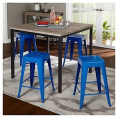 Barletta Counter Height Table Set Black/Gray/Blue 5 Piece - Tms