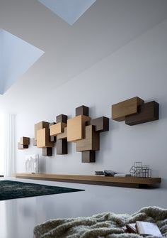 DSIGNIO's Collage Collection is a system of shelving and cabinetry based on the Suprematist art movement (with a dash of Cubism and sprinkle of Neoplasticism! Shelf Design, Cabinet Design, Wall Shelves, Shelving, Flur Design, Muebles Living, Yanko Design, Interior Decorating, Interior Design