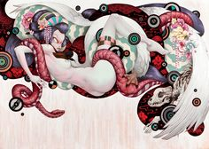 "Geisha & The Swan - Tristan Eaton - one of my fave contemp/lowbrow ""Leda and the Swan"" interps."