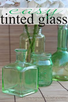 An easy way to upcycle glass bottles and jars: make tinted glass bottles and jars with food coloring and Mod Podge.