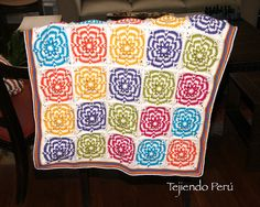 Crochet: cobija con grannies o cuadrados hechos con trenzas de vainillas en circular!
