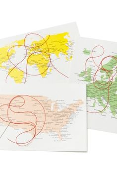 Whether you're having a wedding abroad or are sending invitations around the world, these postcards would make fab invites! Postcards, www.nonesuchthings.com