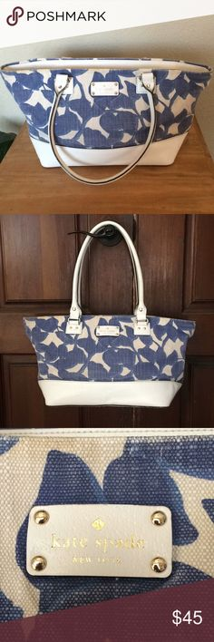 kate spade Wellesley Hyacinth Leaves Harmony Tote So cute! Bag is in good used condition. Some fading of the fabric and some light discoloration near top of bag. One of the handles has some slight wear on the back. A couple minor markings on bottom of bag and on the inside. See pictures for imperfections. Love, love, love this bag! Got lots of compliments. Comes from a smoke free home. :) kate spade Bags Totes