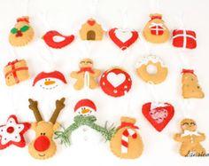 Fieltro adornos de Navidad juego de 8 por MiracleInspiration