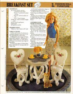 Sitting Pretty Chair /& Ottoman ~ fit Barbie doll plastic canvas pattern leaflet