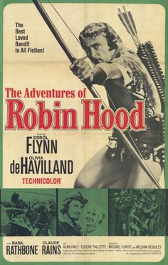 A digital art print of the classic Errol Flynn film. The 1938 American swashbuckler film tells the timeless tale of Robin Hood. Old Movie Posters, Classic Movie Posters, Cinema Posters, Original Movie Posters, Movie Poster Art, Classic Movies, Vintage Posters, Old Movies, Vintage Movies