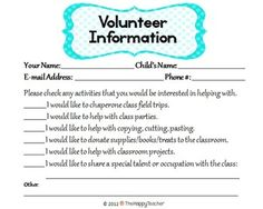 "This item includes all of the essentials you need to make your ""Meet the Teacher"" night a true success! Just print and duplicate the pages you need. Sign-in sheets, student information forms, volunteer information form, transportation form (for the 1st day of school & another for the remainder of the year), and several activities to keep kiddos busy while you talk with parents. $"