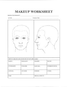 makeup for theatre worksheet google search theatre hair makeup pinterest worksheets. Black Bedroom Furniture Sets. Home Design Ideas