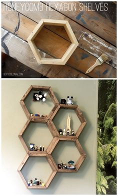 DIY Hexagon Honeycomb Shelves: Step by step tutorial with photos