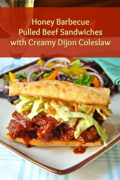 Honey Barbecue Pulled Beef Sandwiches with Creamy Dijon Coleslaw - tender beef, slow braised in an easy, smoky homemade barbecue sauce then served on toasted buns or crusty bread with delicious Creamy Dijon Coleslaw. Rock Recipes, Beef Recipes, Cooking Recipes, Yummy Recipes, Recipies, Homemade Barbecue Sauce, Homemade Bbq, Roast Beef Sandwich, Pulled Beef