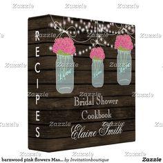 barnwood pink flowers Mason Jar Recipe Folder