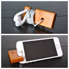 Handcrafted multi-purpose phone stand & headphone wrap.