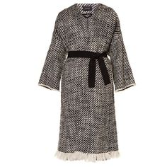 Isabel Marant Iban tweed coat (€955) ❤ liked on Polyvore featuring outerwear, coats, black white, tweed wool coat, wrap coat, isabel marant, black and white coat and tweed coat