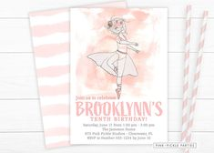 """Do you have a little ballerina birthday girl that is just """"Tutu"""" Cute? Check our new Pink and Gold Ballerina Invitations for her next ballerina party! Ballerina Birthday, Little Ballerina, Girl Birthday, Baby Shower Invitations, Personalized Thank You Cards, Kids Birthday Party Invitations, Pink And Gold, Invite"""