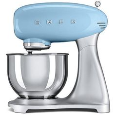 Smeg SMF01 5-Qt. Stand Mixer ($660) ❤ liked on Polyvore featuring home, kitchen & dining, blue and smeg