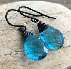 Min Favorit Swiss Blue Hydroquartz Briolette & Black Iron Artisan Wrap Earrings #minfavorit #DropDangle