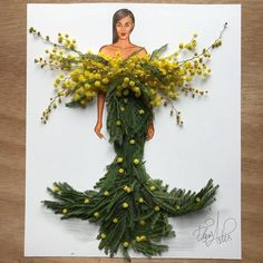 """""""Mi piace"""": 26.1 mila, commenti: 216 - EdgaR_ArtiS (@edgar_artis) su Instagram: """"Hope Gown made out of mimosa flowers. Yellow color reminds me of hope I don't know why. If you…"""""""