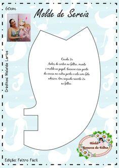 Molde de Sereia Grande 60 cm - Faça Você Mesmo! Mermaid Toys, Felt Patterns, Sewing Studio, Felt Dolls, Doll Clothes Patterns, Fabric Dolls, Felt Crafts, Handmade Gifts, Sewing Projects