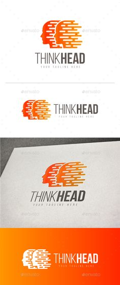 Think Head Logo by DurArt Files Included:Logos are vector based built in Illustrator software. They are fully editable and scalable without losing resoluti Best Logo Design, Business Logo Design, Business Card Logo, Branding Design, Logo Design Template, Logo Templates, Fast Logo, People Logo, Creative Logo