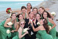 fun bridal party Beach wedding