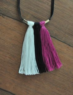 Black White and Pink Tassel Bar Necklace tutorial on madeinaday.com