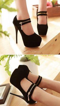 High-heeled Black Women's Shoes with a Zipper
