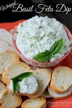 Whipped Basil Feta Dip - perfect for all that fresh summer basil! - This sounds delicious! Healthy Dip Recipes, Healthy Dips, Appetizer Recipes, Great Recipes, Cooking Recipes, Favorite Recipes, Healthy Appetizers, Healthy Summer, Vegan Recipes