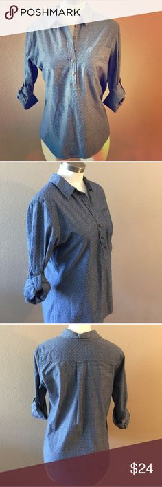 Blue Button Up NWOT - never worn, only tried on.  Collared shirt with buttons halfway up. Great paired with leggings as the shirt tail is long. Tops Button Down Shirts