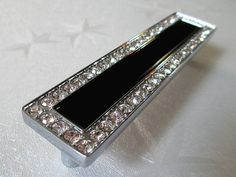 "5"" Black Drawer Pull Dresser Pulls Handles Knobs Crystal Glass Sivler Clear / Furniture Kitchen Cabinet Handle Pull Knob Hardware Luxury 128 mm C46"